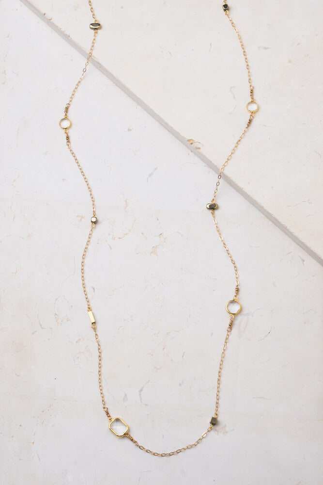 Sarah Crystal + Gold Necklace