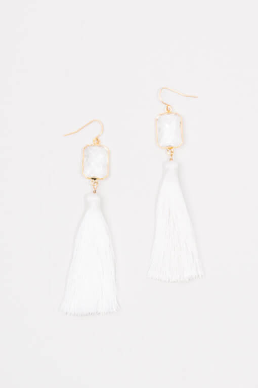 Zoe White Tassel Earrings