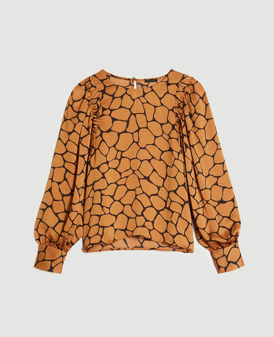 Animal Print Shirred Sleeve Top in Classic Caramel