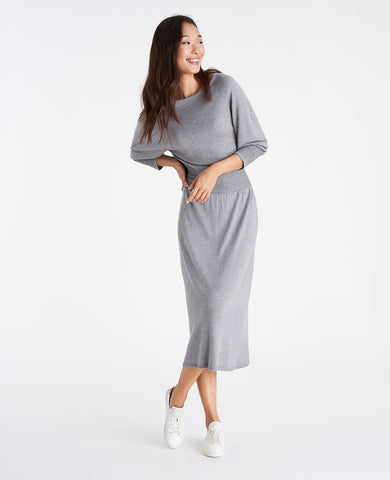 Smocked Sweater Dress in Heather Sleek Silver