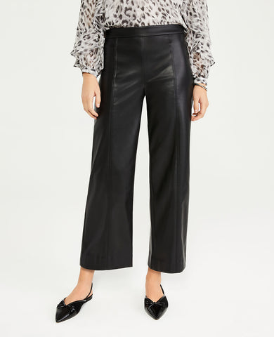 The Petite Faux Leather Wide Leg Crop Pant in Black