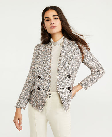 Fringe Tweed Double Breasted Jacket in Pink Multi