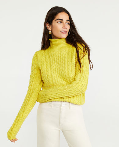 Mock Neck Cable Sweater in Bright Celery