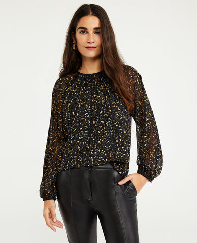 Spotted Piped Blouse in Black