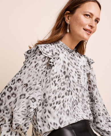 Snow Leopard Ruffle Sleeve Mock Neck Top in Manhattan Mist