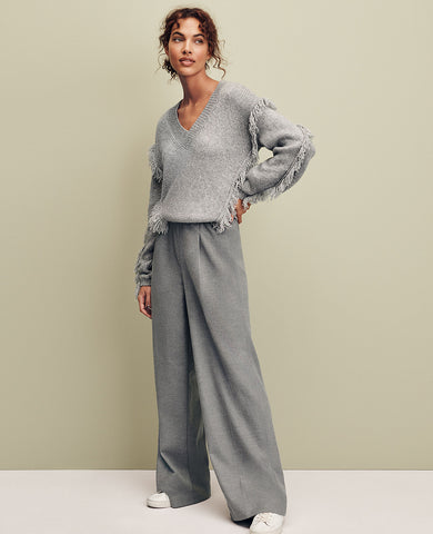 The Flannel Wide Leg Pull On Pant in Fizz Grey Heather