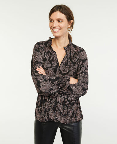 Paisley Ruffle Mixed Media Pleat Front Top in Black
