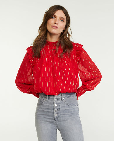 Shimmer Clip Smocked Ruffle Top in Candy Red