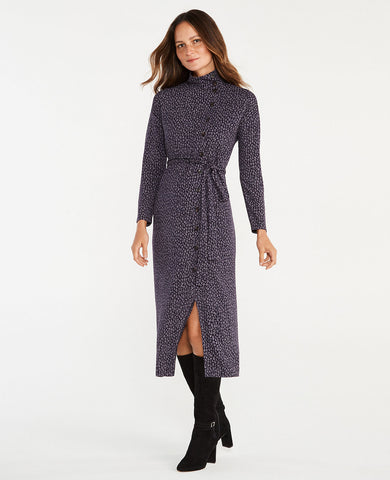 Petite Spotted Side Button Mock Neck Dress in Night Sky