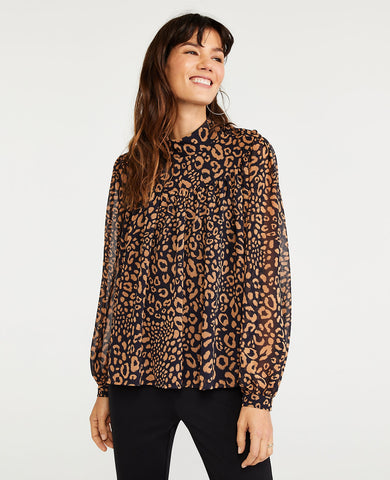Animal Print Shirred Turtleneck Top in Night Sky