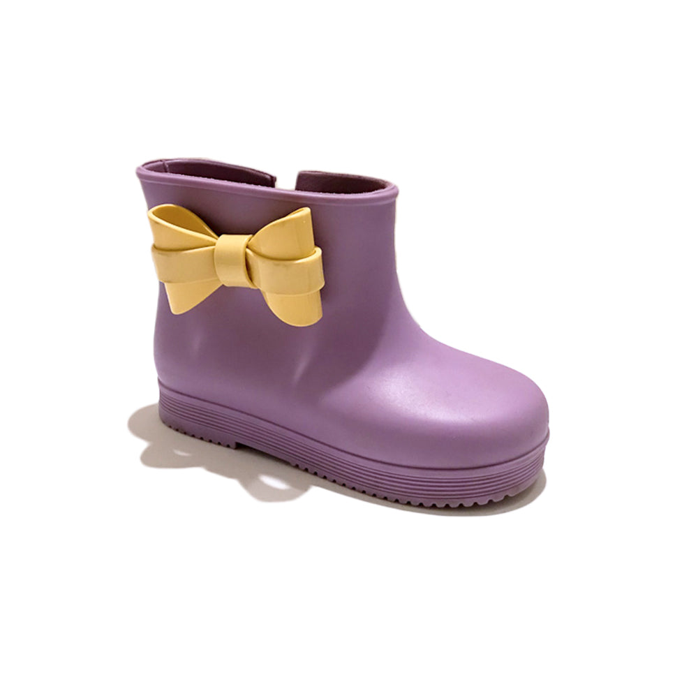 MINI MELISSA BOW RAIN BOOTS - PURPLE - SIZE 9 TODDLER - VERY GOOD CONDITION
