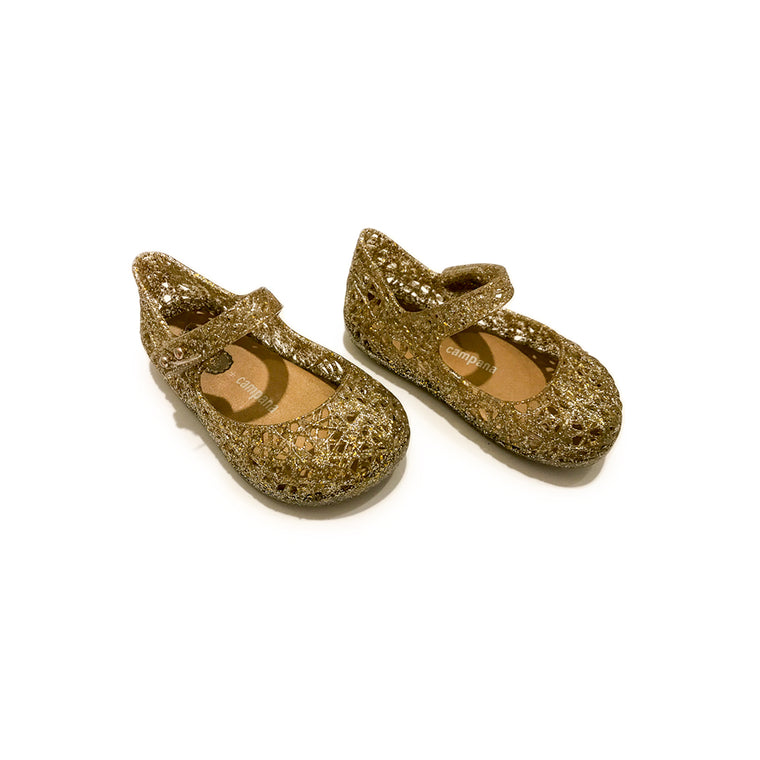 MINI MELISSA CAMPANA MARY JANE FLAT - GOLD - SIZE 6 - VERY GOOD CONDITION