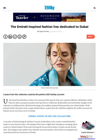 ARSHYS MINDUBAI COLLECTION PUBLISHED IN ONE OF THE TOP LUXURY PORTAL CONDENAST TRAVELLER ME