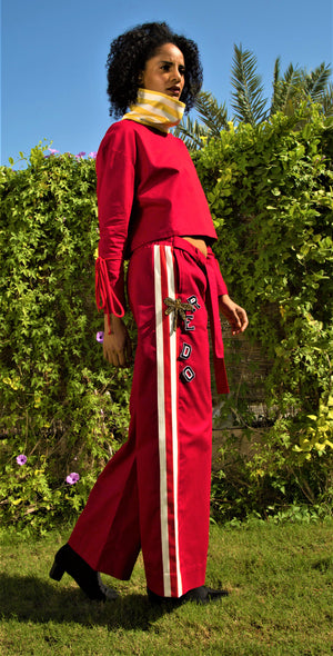 red redo ankle gazer pants
