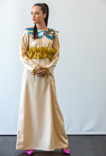 OFF-WHITE COLLARED KAFTAN WITH BELT