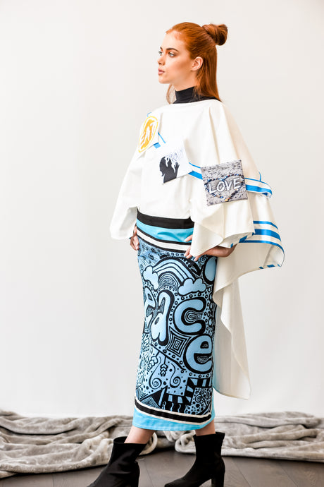 ARSHYS PEACE PONCHO SKIRT SET