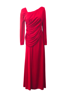 Draped red jersey dress