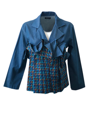 Denim-Linen Ruffled Jacket