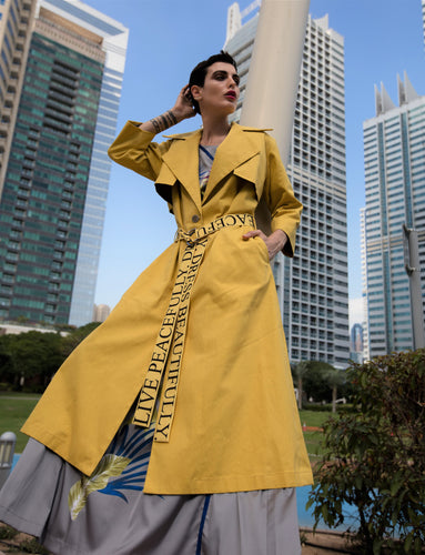 Yellow statement coat, trench