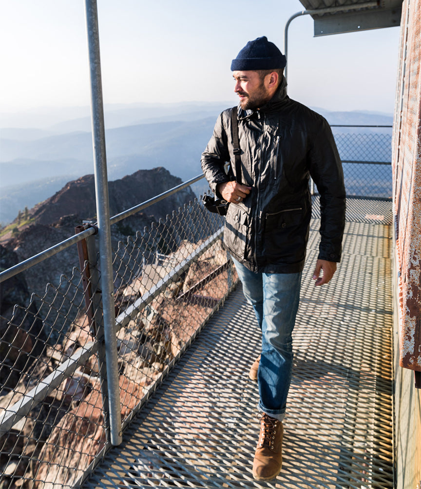 Tekkima Navigator jacket on a fire lookout in the Sierra Nevada mountains in California