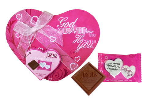 God So Loved Me Heart Tin - Pink