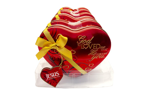 God So Loved Me Heart Tin - Red