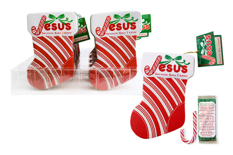 Jesus Candy Cane Stocking Ornament Tin