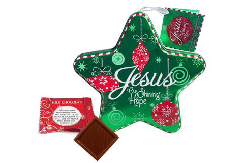 Jesus Our Shining Hope Green Star Tin with Chocolates
