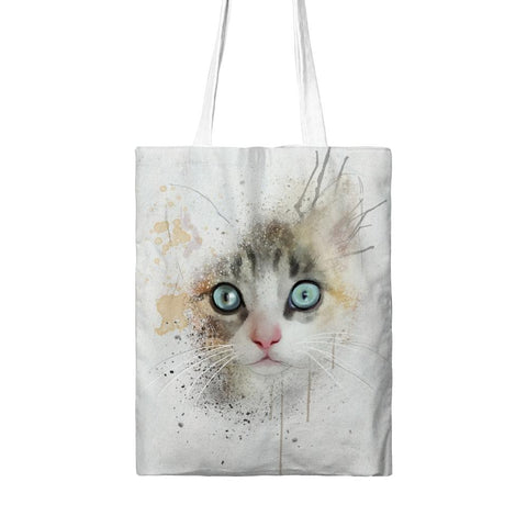 Watercolor Cat Print Tote Bags