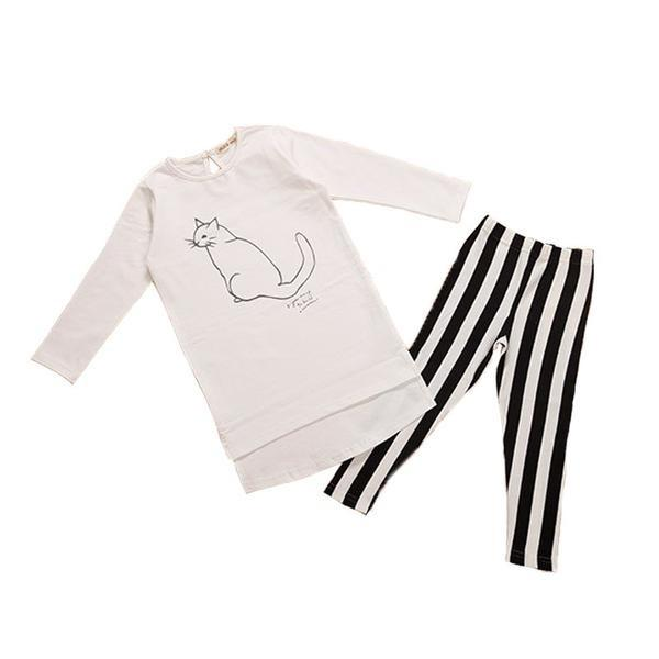 White Cat Shirt + Striped Long Pants Children - 2Pcs