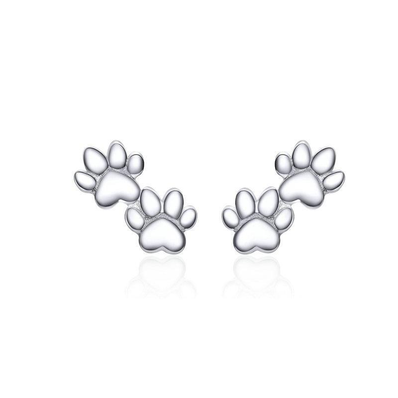 Cat Paw Sterling Silver Stud Earrings