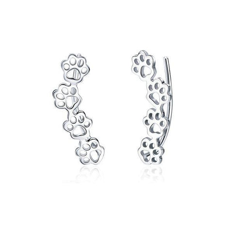 Sterling Silver Paw Stud Earrings