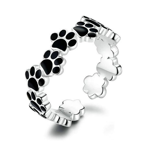 Sterling Silver Adjustable Black Cat Paw Ring