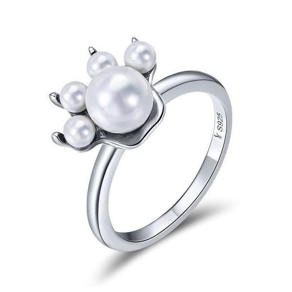 Sterling Silver Cat Pearl Paw Ring