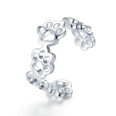 Sterling Silver Adjustable Cat Paw Ring | NineLivesCats