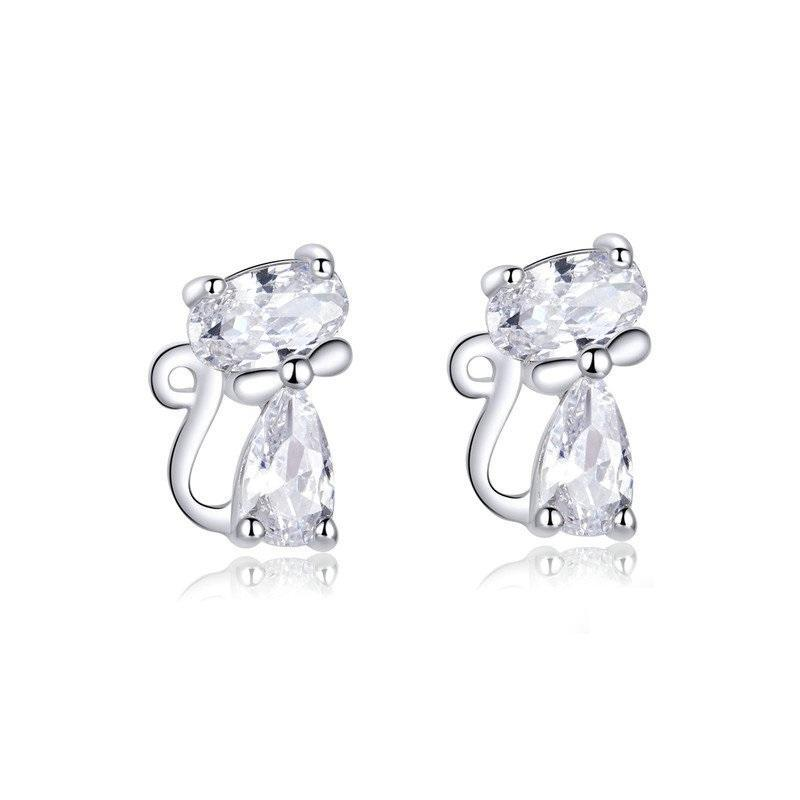 Silver & Cubic zircon Cat Stud Earrings | NineLivesCats