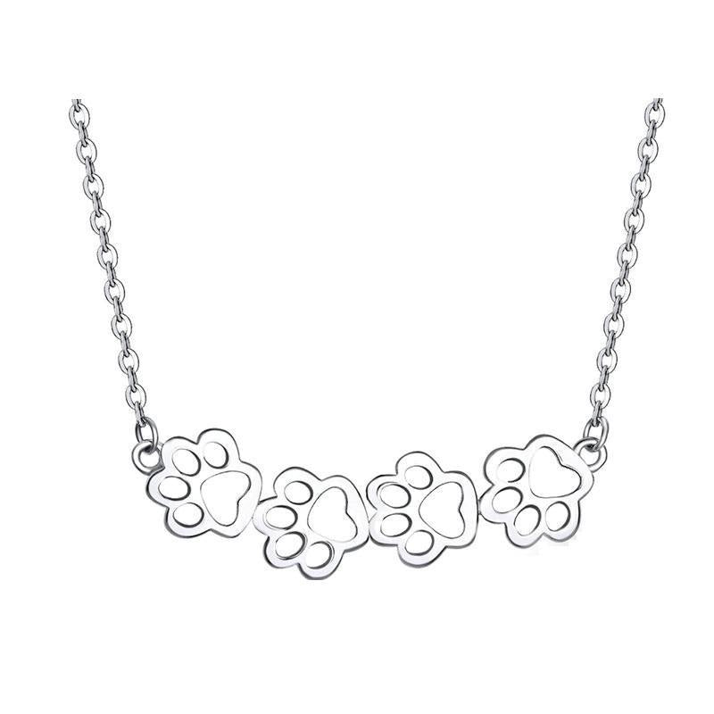 Silver Cat Paw Choker Necklace