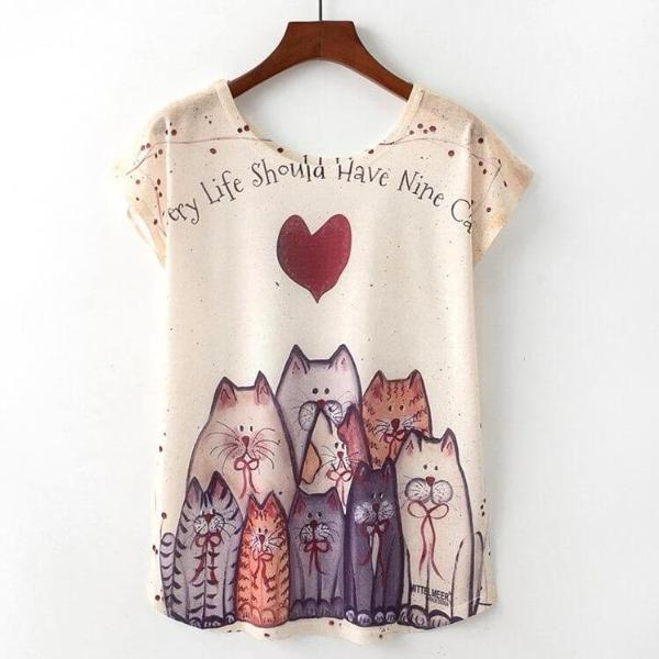 Nine Cats Tshirt | NineLivesCats