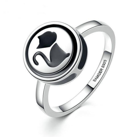 Black cat silver ring