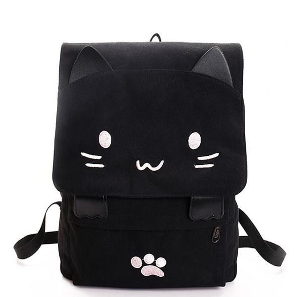 Black Cat Canvas Backpack | NineLivesCats