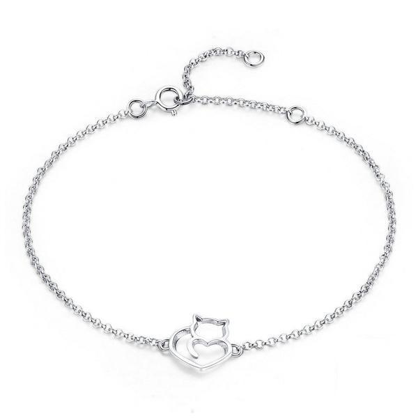925 Sterling Silver In My Heart Cat Bracelet | NineLivesCats