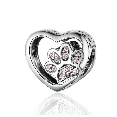 925 Sterling Silver Cat Paw Footprints Heart Charm