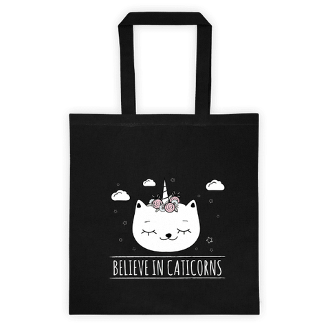 Caticorn Black Tote Bag