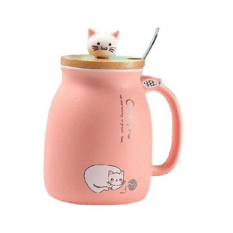 Kitty Ceramic Mug With Spoon And Lid Cup | NineLivesCats