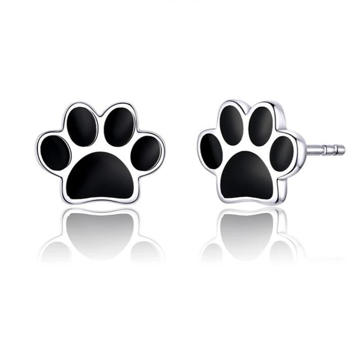 Cat Paw 925 Silver Stud Earrings