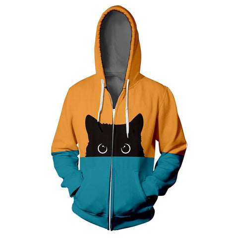 Unisex Black Cat Colorful Zipper Hoodie