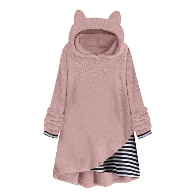 Oversize Striped Fleece Hoodie With Cat Ears