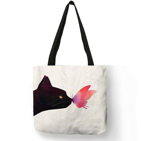 Butterfly & Cat Tote Bag