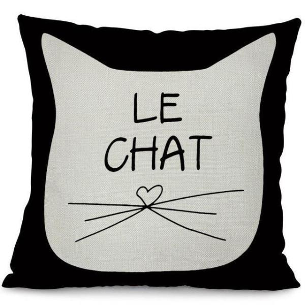 Black & white Pillow Cases - Le Chat | NineLivesCats
