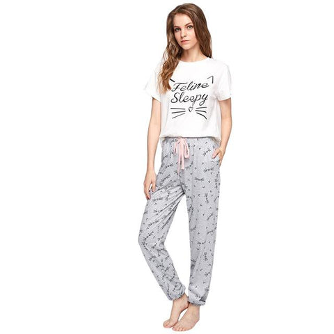 Feline Sleepy Pajama Set | NineLivesCats